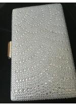 Официална дамска чанта цвят сребро с кристали