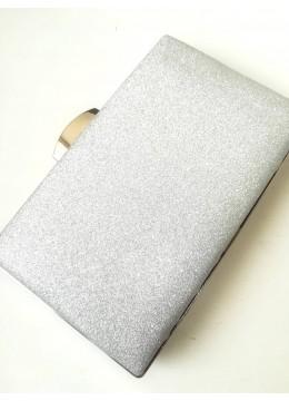 Луксозна чантичка от сребърен брокат за сватба и бал