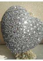 Ефектна дамска чантичка сърце със сребърни кристали за булка и абитуриентка
