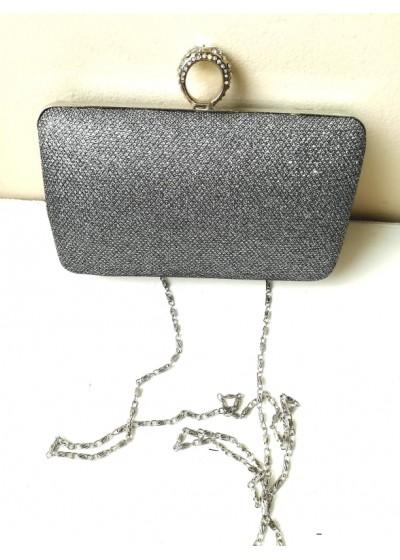 Елегантна чанта за булка и абитуриентка в тъмно сребро с кристали