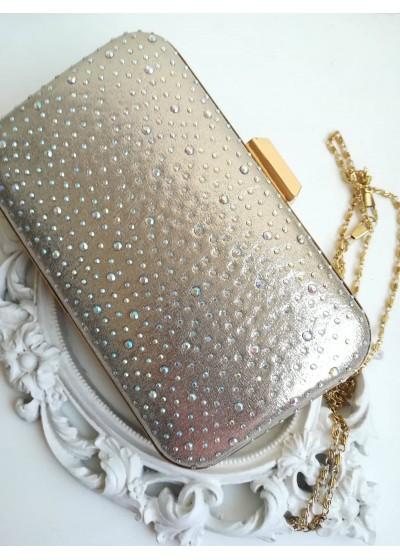 Ефектна дамска чанта светло златист брокат с кристали