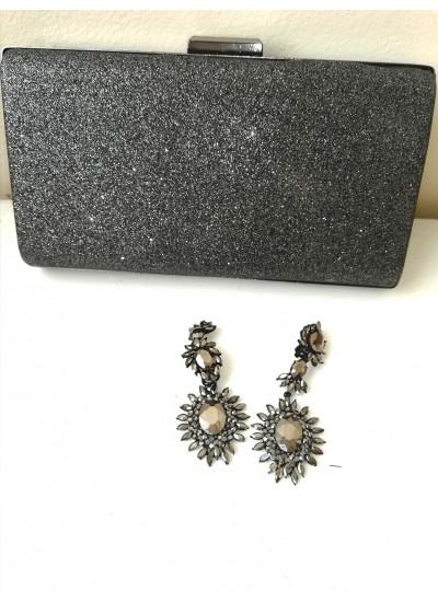 Елегантна дамска чанта за булка или абитуриентка цвят тъмен графит брокат