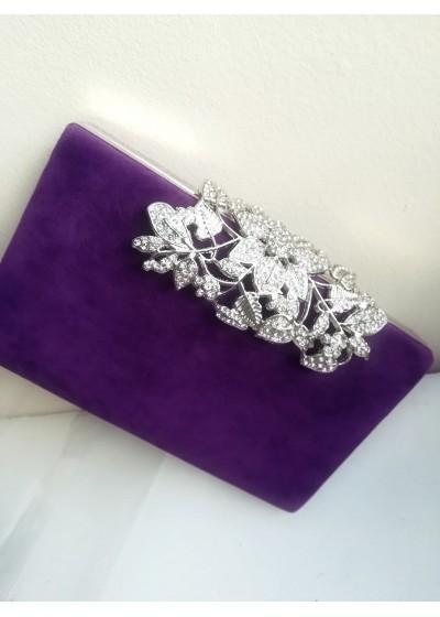 Изключително стилна дамска чанта в тъмно лилаво с обков с белгийски кристали