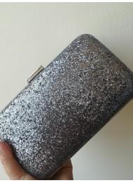 Дамска чантичка цвят тъмно сиво брокат