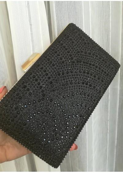 Елегантна официална дамска чанта с черни кристали
