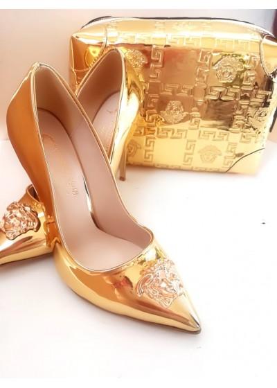Изящен комплект официална чанта и обувки в златно модел Gorgon Gold
