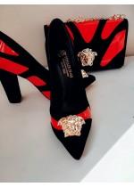 Елегантни дамски обувки с висок ток и чанта в черно червено и златно модел Gorgon Red