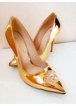 Елегантни дамски обувки от златист лак с висок ток модел Gorgon Gold