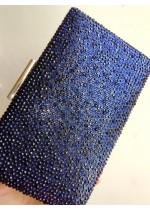Официална дамска чанта с тъмно сини кристали Сваровски модел Blue Queen