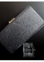 Официална дамска чанта тип клъч от брокат цвят Графитено сиво
