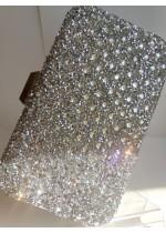 Булчинска чанта с кристали Сваровски в сребърен цвят