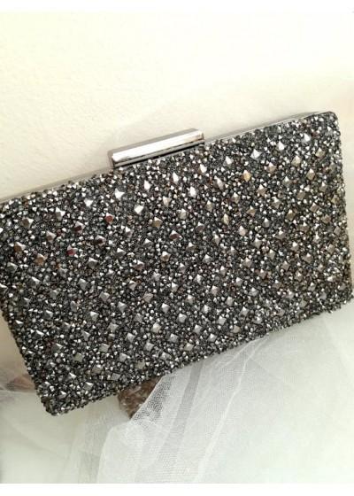 Официална дамска чанта за булка и абитуриентка с кристали цвят сиво Crystal Dark Rose
