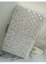 Официална дамска чанта за булка и абитуриентка с кристали цвят слонова кост