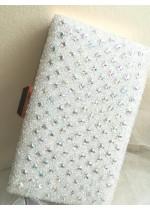 Официална дамска чанта за булка и абитуриентка с кристали цвят снежно бяло Crystal White Rose