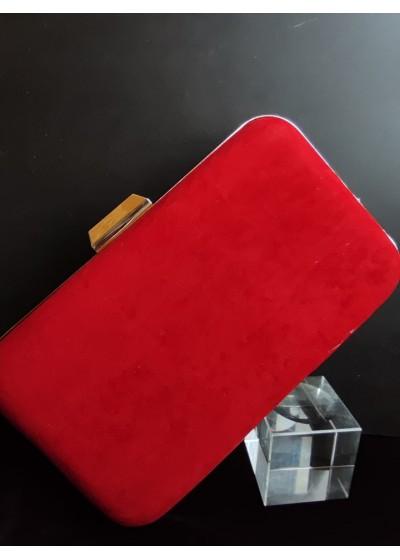 Елегантна дамска чанта тип клъч от червено кадифе