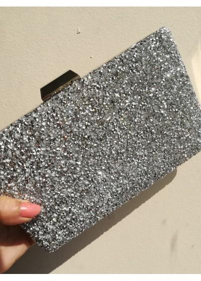 Сватбена дамска чанта цвят сребро с кристали