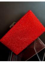 Официална дамска чанта с червени кристали Сваровски модел Red Queen