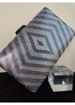Елегантна кристална дамска чанта в сребристо и тъмно сиво