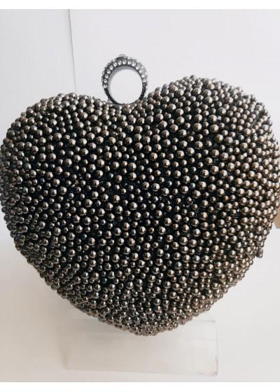 Дамска чанта сърце с кристали Сваровски и мъниста цвят сив графит за бал и специални събития