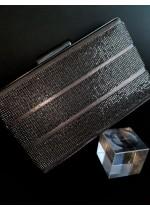Стилна дамска чанта с кристали цвят бронз с отблясък пепел от роза