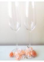 Чаши за сватба с цветя в цвят праскова серия Blush wedding