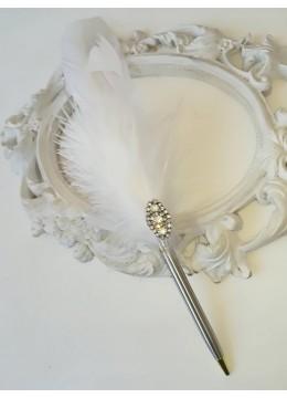 Сватбен химикал с пера и кристали модел Silver Luxury