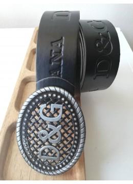 Мъжки колан за подарък от релефна естествена кожа D&G