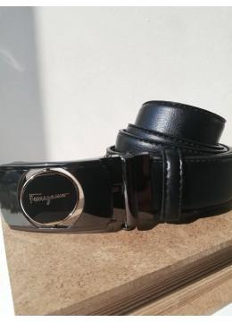 Стилен мъжки колан за младоженец от естествена кожа с автоматична двулицева тока Feragamo с подаръчна чанта