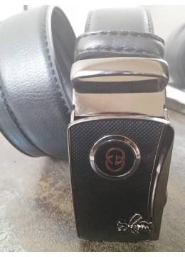 Колан за младоженец с естествена кожа с автоматична тока с емблема Gucci и подаръчна чанта