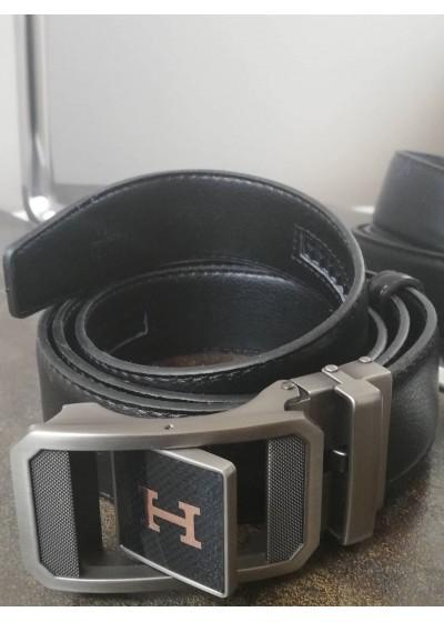 Колан за подарък от естествена кожа с автоматична двулицева тока Hermes Paris с подаръчна чанта