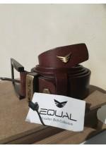 Мъжки колан за подарък от естествена кожа за бизнес костюм цвят кафяво Equal