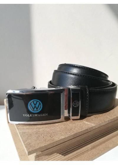 Мъжки черен кожен колан с автоматична тока стомана Volkswagen