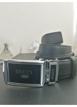 Стилен колан за младоженец с автоматична тока с емблема Gucci и подаръчна чанта