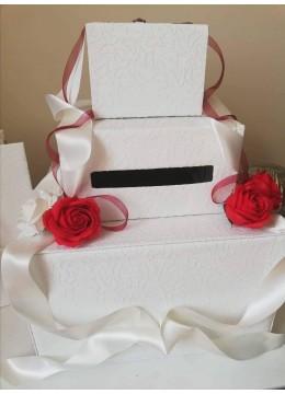 Сватбена кутия за пари и пожелания в червено и бяло серия Red Roses Passion 3 реда