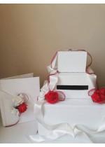 Сватбен комплект кутия за пари на три реда и сватбена книга серия Red Roses Passion