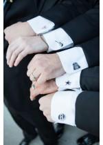 Ръкавели и игли за вратовръзка за младоженец и кум
