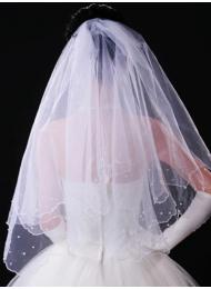 Воал за булка с перли в бяло модел Abby размер М